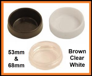 Castor Cups. Furniture/floor protector. BROWN WHITE, CLEAR. 68mm. 1.10 pk